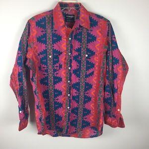 Vintage Wrangler Pink Southwest Button Down Sz L